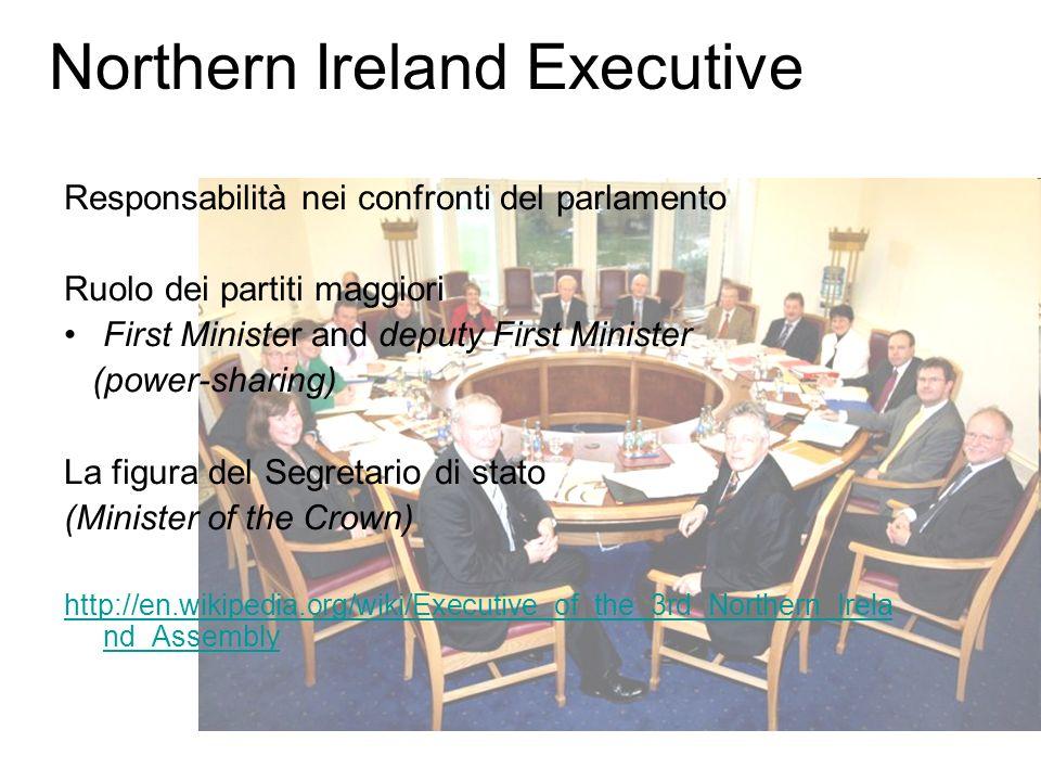 Northern Ireland Executive Responsabilità nei confronti del parlamento Ruolo dei partiti maggiori First Minister and deputy First Minister (power-shar