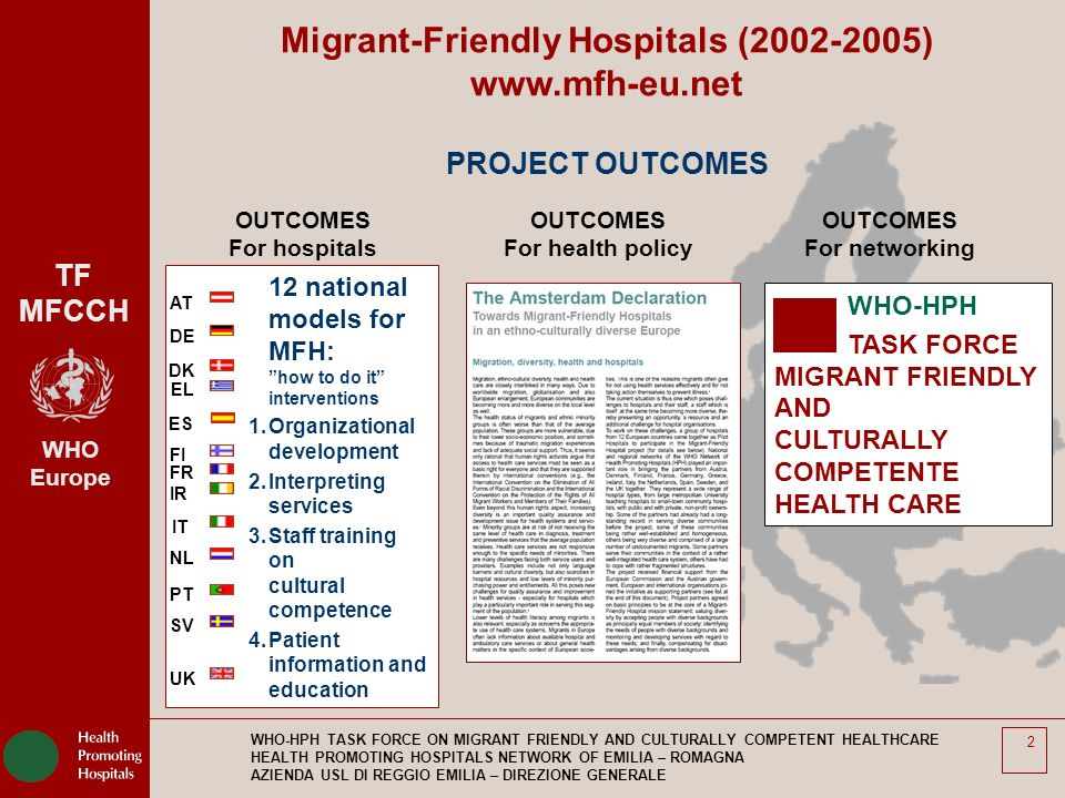 TF MFCCH WHO Europe WHO-HPH TASK FORCE ON MIGRANT FRIENDLY AND CULTURALLY COMPETENT HEALTHCARE HEALTH PROMOTING HOSPITALS NETWORK OF EMILIA – ROMAGNA AZIENDA USL DI REGGIO EMILIA – DIREZIONE GENERALE 13