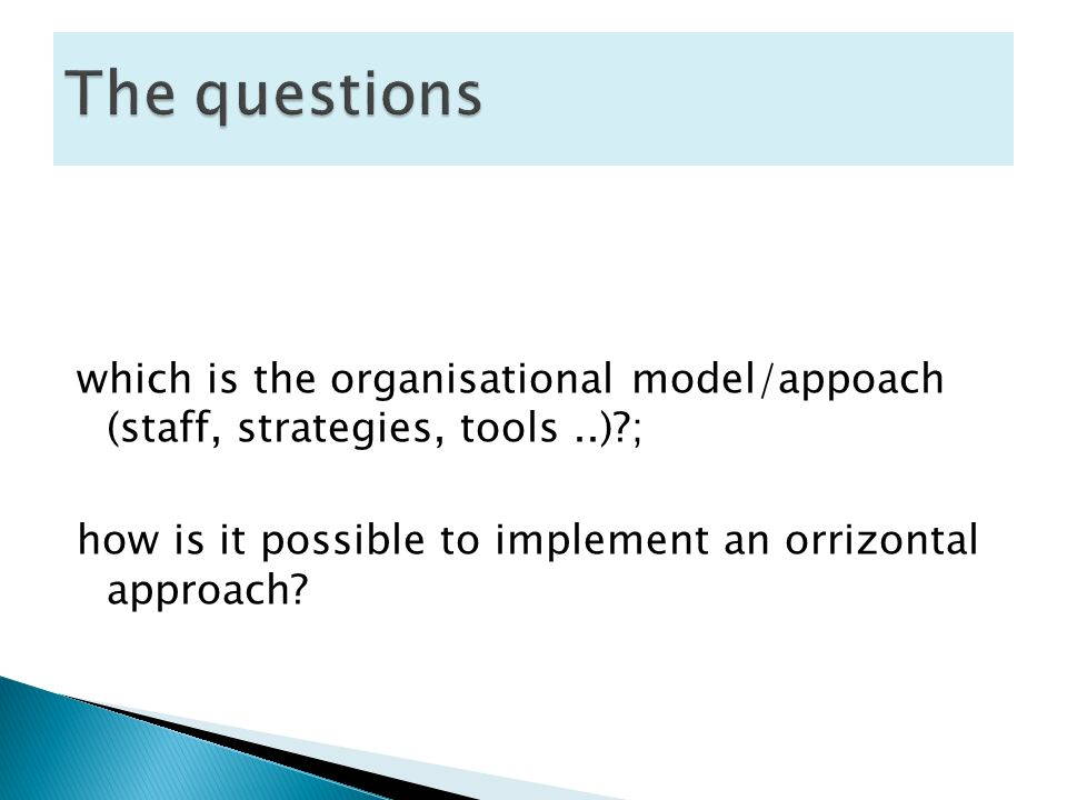 which is the organisational model/appoach (staff, strategies, tools..) ; how is it possible to implement an orrizontal approach