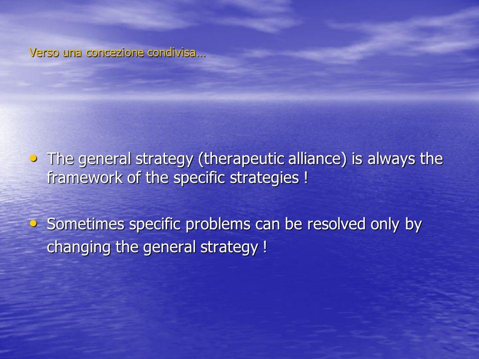 Verso una concezione condivisa… The general strategy (therapeutic alliance) is always the framework of the specific strategies ! The general strategy