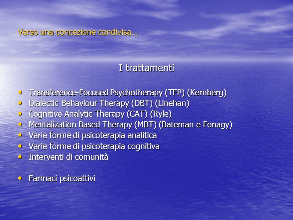 Verso una concezione condivisa… I trattamenti Transference-Focused Psychotherapy (TFP) (Kernberg) Transference-Focused Psychotherapy (TFP) (Kernberg)