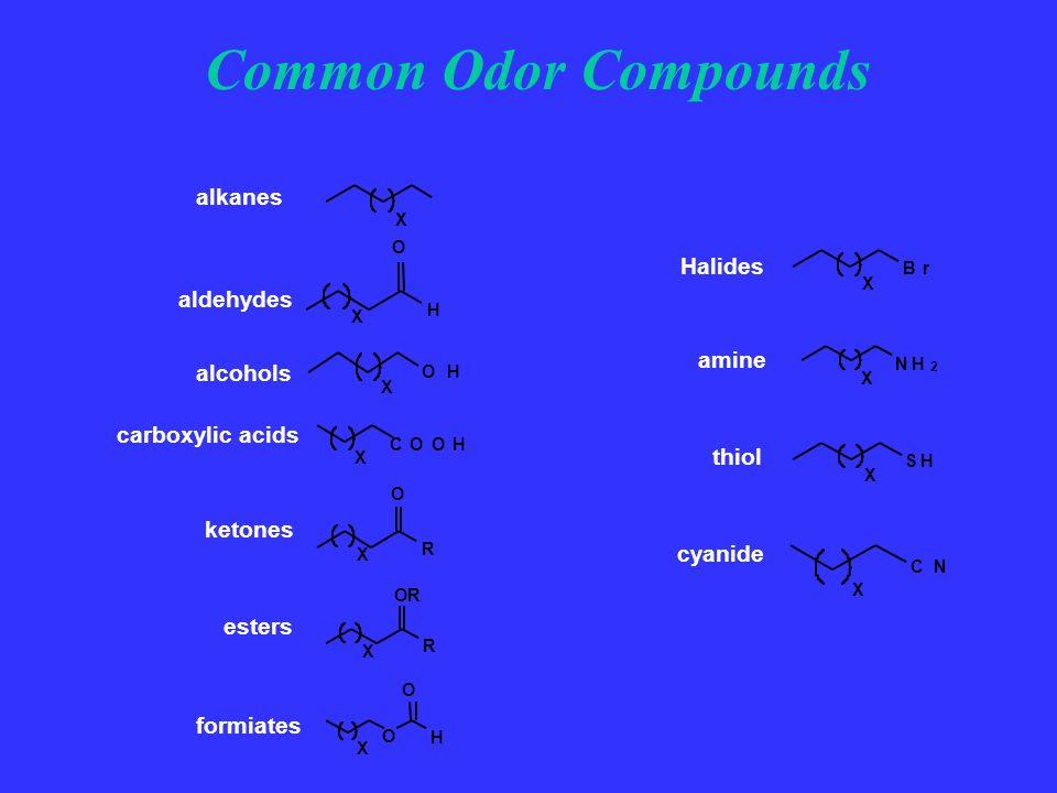 X CN cyanide SH X thiol NH 2 X amine Br X Halides Common Odor Compounds formiates X OH alcohols COOH X carboxylic acids X R O aldehydes X O H O X H O