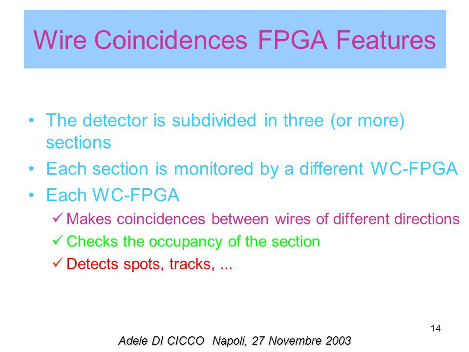 14 Wire Coincidences FPGA Features The detector is subdivided in three (or more) sections Each section is monitored by a different WC-FPGA Each WC-FPGA Makes coincidences between wires of different directions Checks the occupancy of the section Detects spots, tracks,...