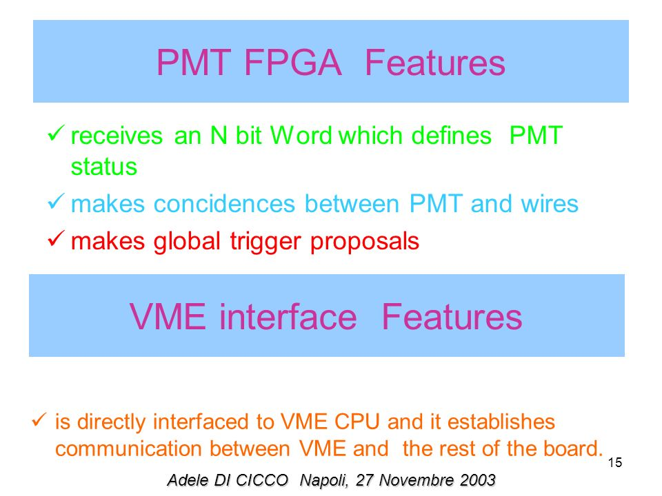 15 receives an N bit Word which defines PMT status makes concidences between PMT and wires makes global trigger proposals PMT FPGA Features VME interf