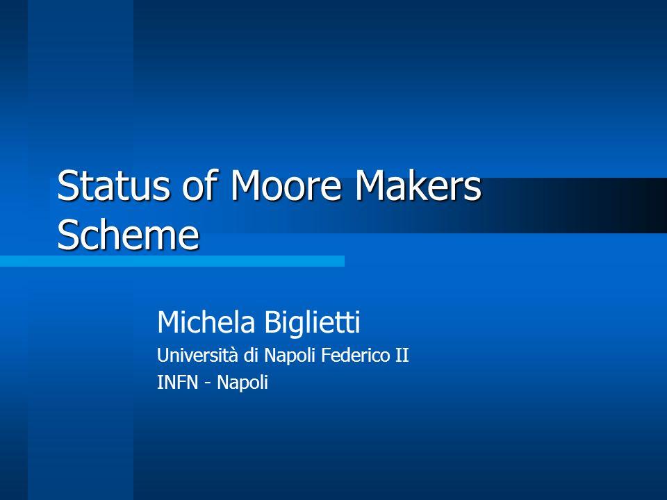 Status of Moore Makers Scheme Michela Biglietti Università di Napoli Federico II INFN - Napoli