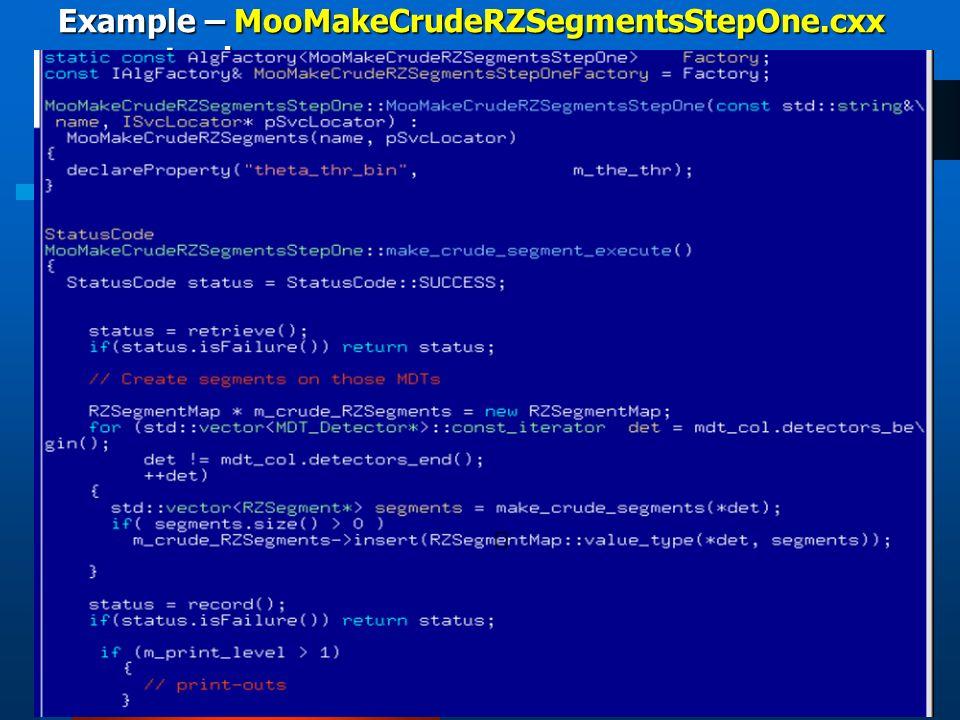 Example – MooMakeCrudeRZSegmentsStepOne.cxx concrete class