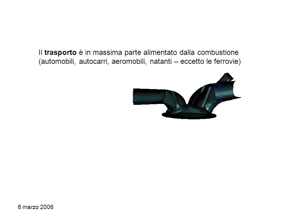 6 marzo 2006 Il trasporto è in massima parte alimentato dalla combustione (automobili, autocarri, aeromobili, natanti – eccetto le ferrovie)