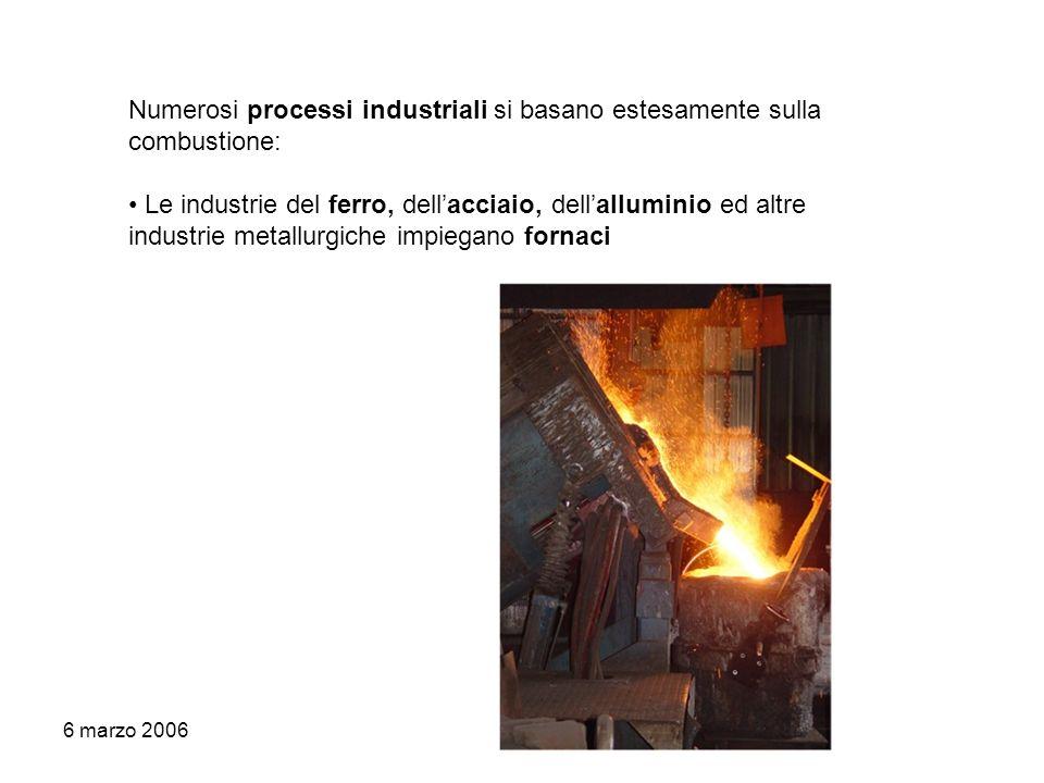 6 marzo 2006 Numerosi processi industriali si basano estesamente sulla combustione: Le industrie del ferro, dellacciaio, dellalluminio ed altre indust