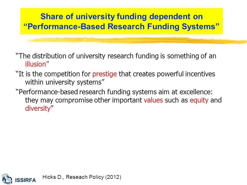 Share of university funding dependent on Performance-Based Research Funding Systems Hicks D., Reseach Policy (2012) The distribution of university research funding is something of an illusion It is the competition for prestige that creates powerful incentives within university systems Performance-based research funding systems aim at excellence: they may compromise other important values such as equity and diversity