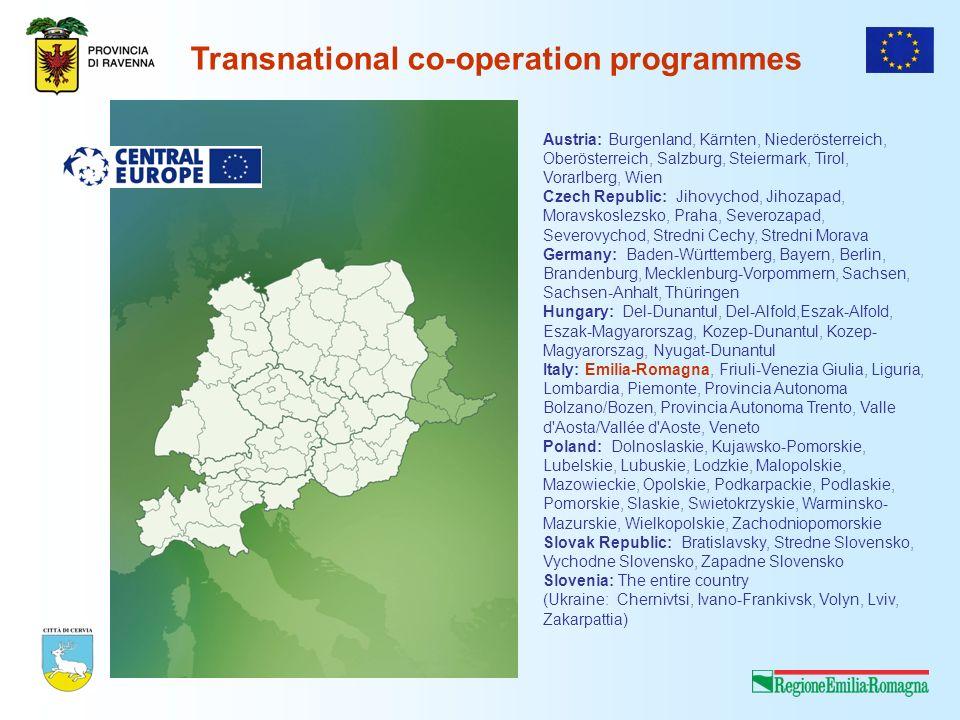 Transnational co-operation programmes Austria: Burgenland, Kärnten, Niederösterreich, Oberösterreich, Salzburg, Steiermark, Tirol, Vorarlberg, Wien Cz