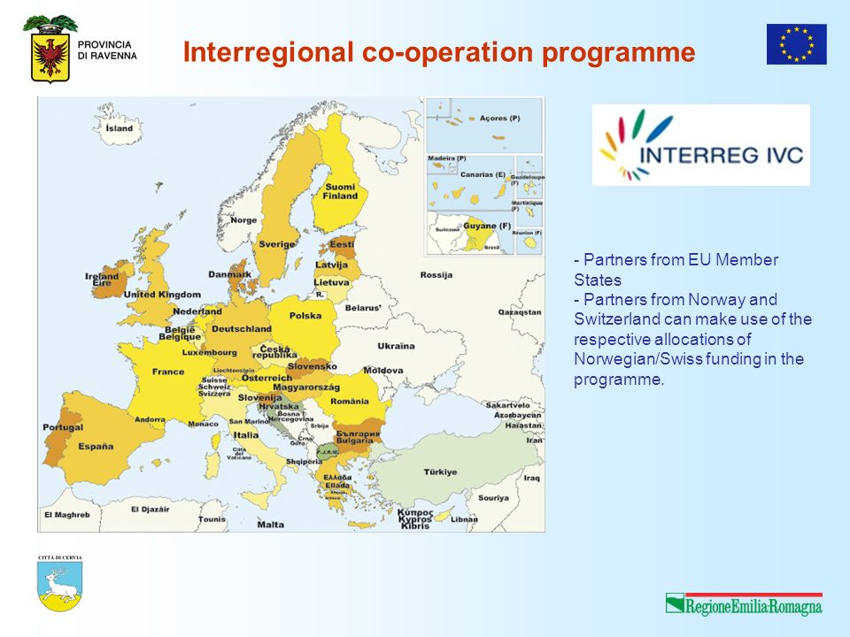 Interregional co-operation programme - Partners from EU Member States - Partners from Norway and Switzerland can make use of the respective allocations of Norwegian/Swiss funding in the programme.