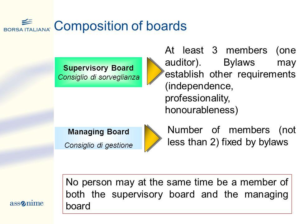 Managing Board Consiglio di gestione Supervisory Board Consiglio di sorveglianza Composition of boards At least 3 members (one auditor). Bylaws may es