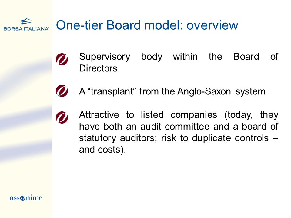 One-tier Board model: overview Supervisory body within the Board of Directors A transplant from the Anglo-Saxon system Attractive to listed companies