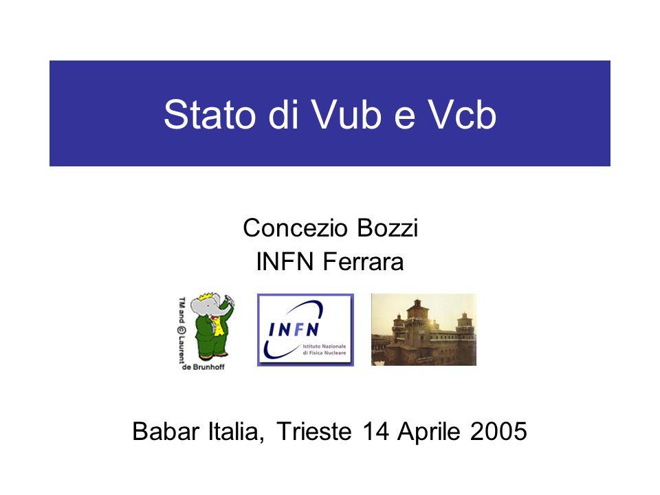 Stato di Vub e Vcb Concezio Bozzi INFN Ferrara Babar Italia, Trieste 14 Aprile 2005