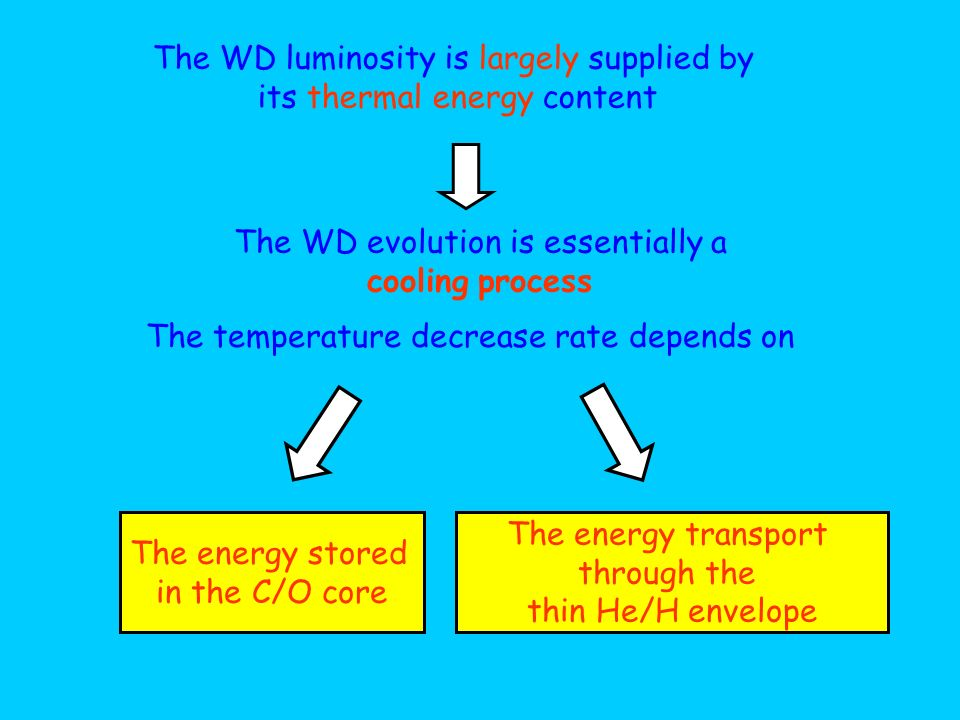 The WD evolution is essentially a cooling process The WD luminosity is largely supplied by its thermal energy content The temperature decrease rate de