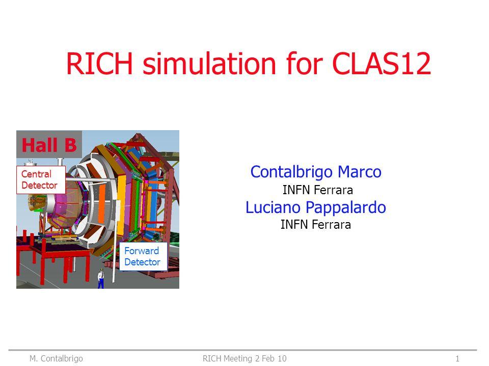 RICH simulation for CLAS12 Contalbrigo Marco INFN Ferrara Luciano Pappalardo INFN Ferrara Hall B Central Detector Forward Detector M.