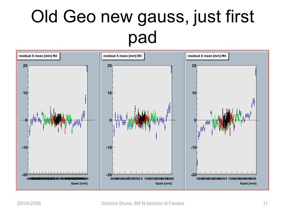 Old Geo new gauss, just first pad 29/04/2008Simone Brusa, INFN sezione di Ferrara11