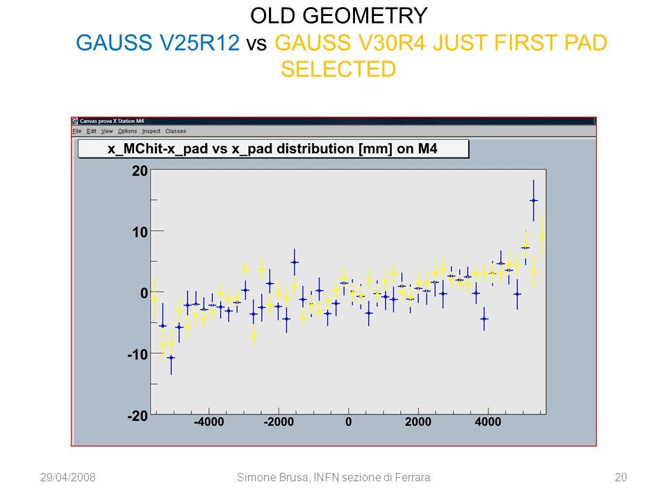 OLD GEOMETRY GAUSS V25R12 vs GAUSS V30R4 JUST FIRST PAD SELECTED 29/04/200820Simone Brusa, INFN sezione di Ferrara