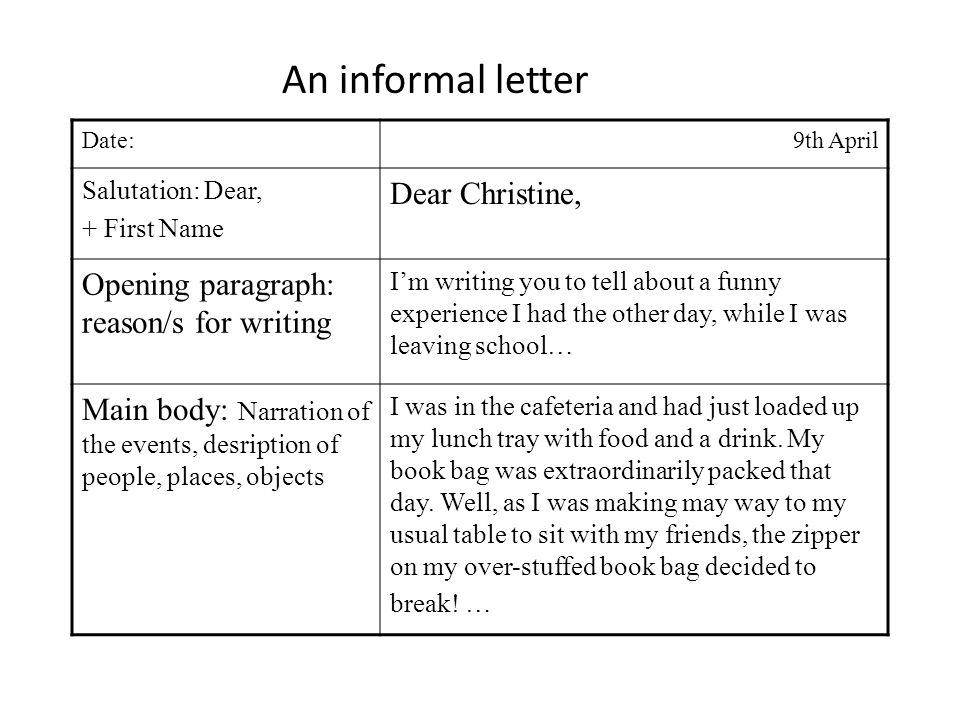 Date:9th April Salutation: Dear, + First Name Dear Christine, Opening paragraph: reason/s for writing Im writing you to tell about a funny experience I had the other day, while I was leaving school… Main body: Narration of the events, desription of people, places, objects I was in the cafeteria and had just loaded up my lunch tray with food and a drink.