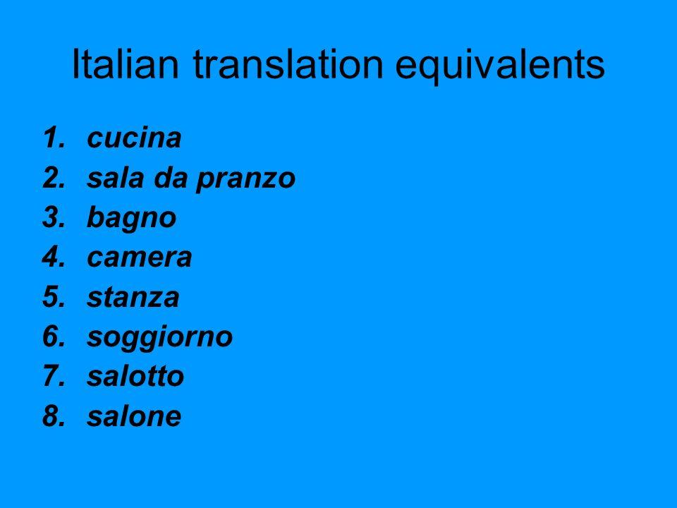 Italian translation equivalents 1.cucina 2.sala da pranzo 3.bagno 4.camera 5.stanza 6.soggiorno 7.salotto 8.salone