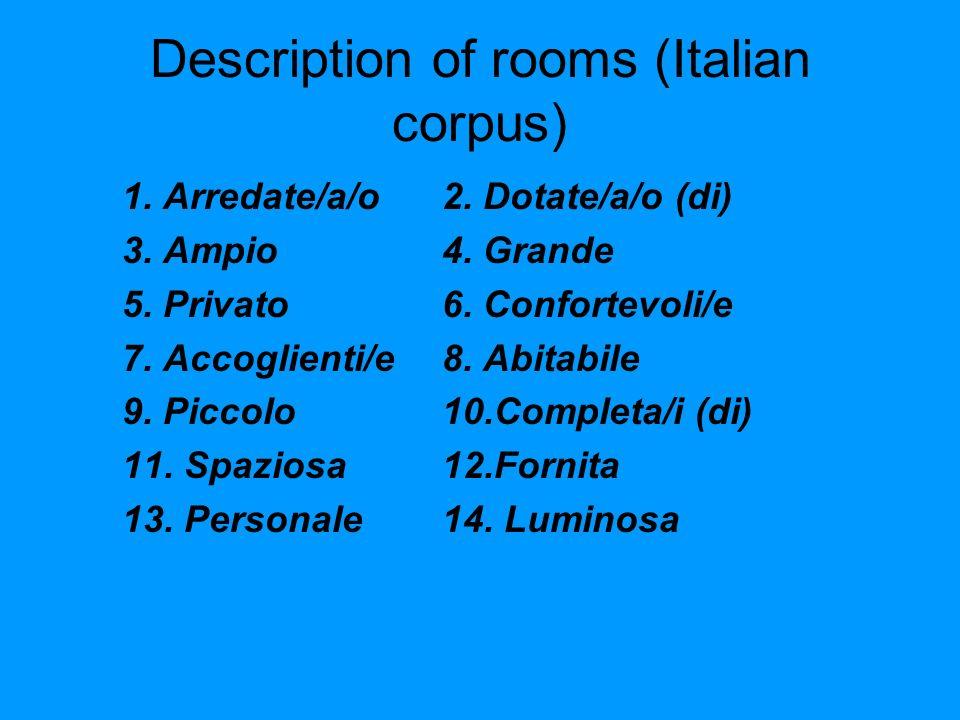Description of rooms (Italian corpus) 1. Arredate/a/o2.