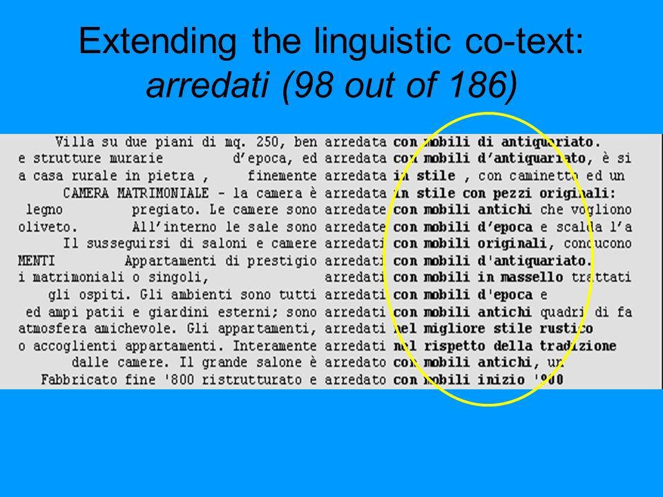 Extending the linguistic co-text: arredati (98 out of 186)