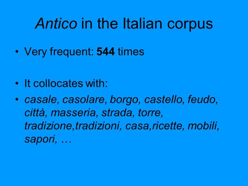 Antico in the Italian corpus Very frequent: 544 times It collocates with: casale, casolare, borgo, castello, feudo, città, masseria, strada, torre, tradizione,tradizioni, casa,ricette, mobili, sapori, …