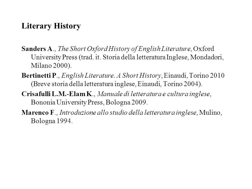 Literary History Sanders A., The Short Oxford History of English Literature, Oxford University Press (trad. it. Storia della letteratura Inglese, Mond
