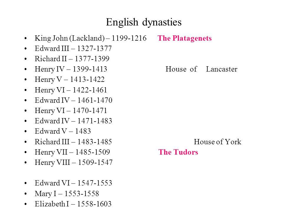 English dynasties King John (Lackland) – 1199-1216 The Platagenets Edward III – 1327-1377 Richard II – 1377-1399 Henry IV – 1399-1413 House of Lancast