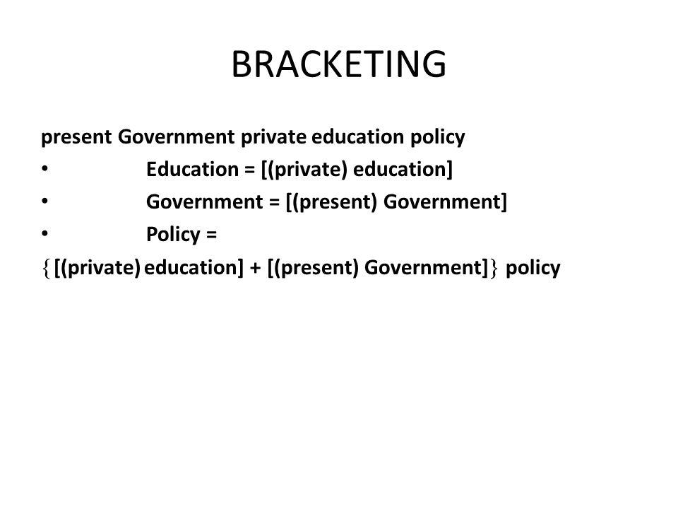 BRACKETING present Government private education policy Education = [(private) education] Government = [(present) Government] Policy = [(private) education] + [(present) Government] policy
