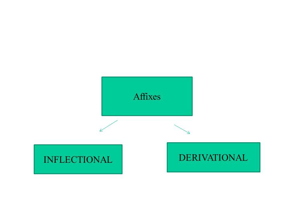 INFLECTIONAL DERIVATIONAL Affixes