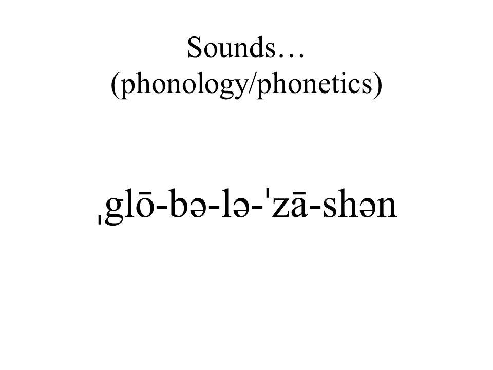 Sounds… (phonology/phonetics) ˌ glō-bə-lə- ˈ zā-shən