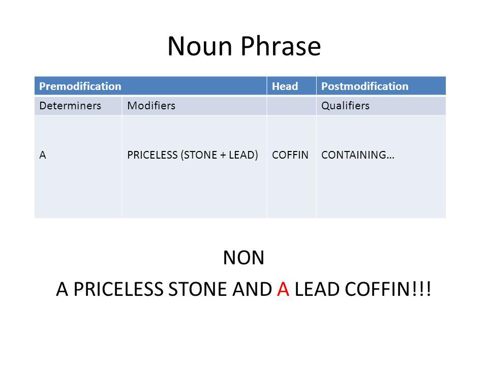 Noun Phrase NON A PRICELESS STONE AND A LEAD COFFIN!!! PremodificationHeadPostmodification DeterminersModifiersQualifiers APRICELESS (STONE + LEAD)COF