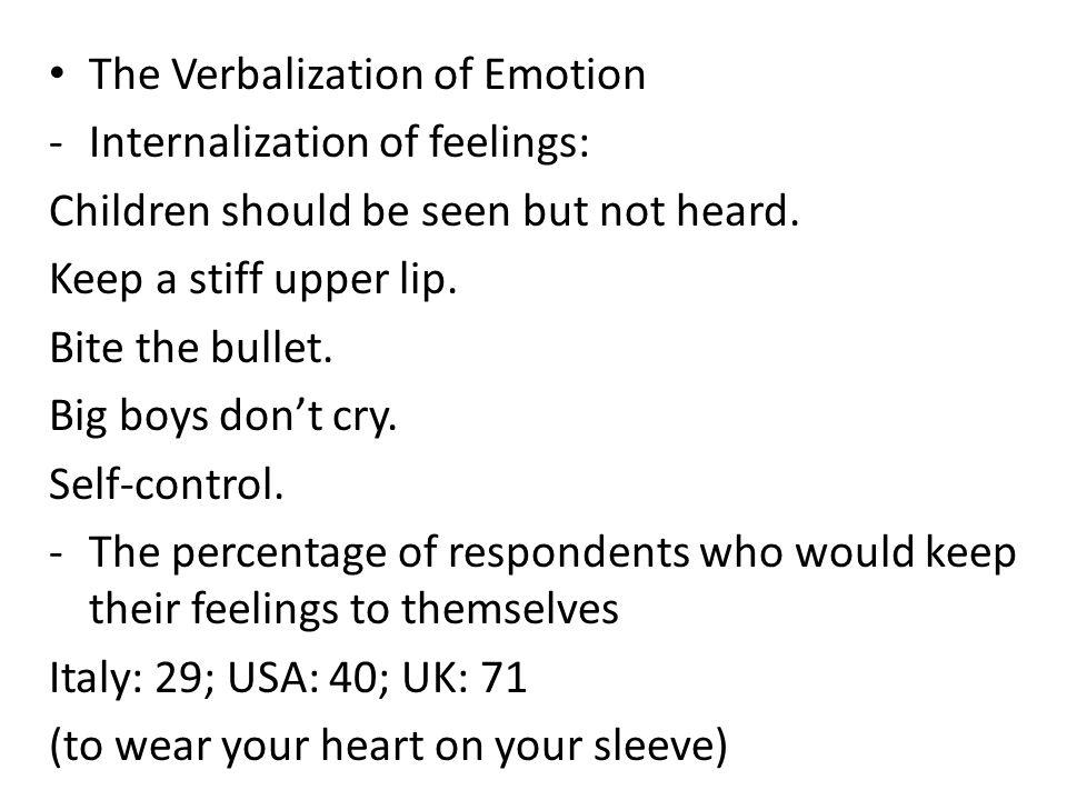 The Verbalization of Emotion -Internalization of feelings: Children should be seen but not heard.