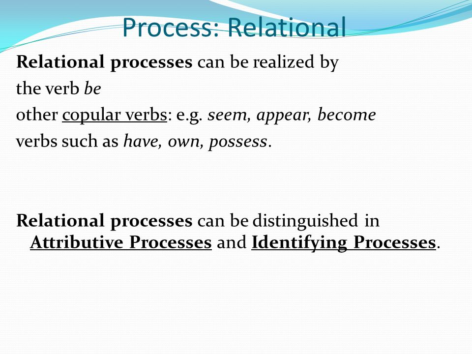 Process: Relational Relational processes can be realized by the verb be other copular verbs: e.g.