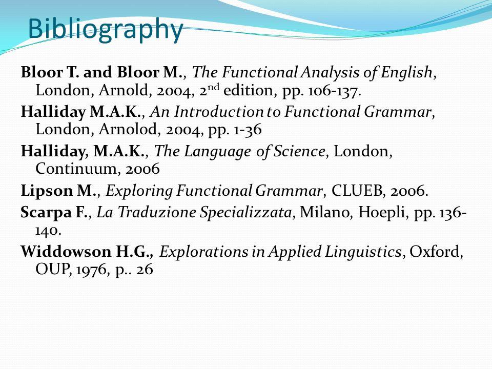 Bibliography Bloor T.