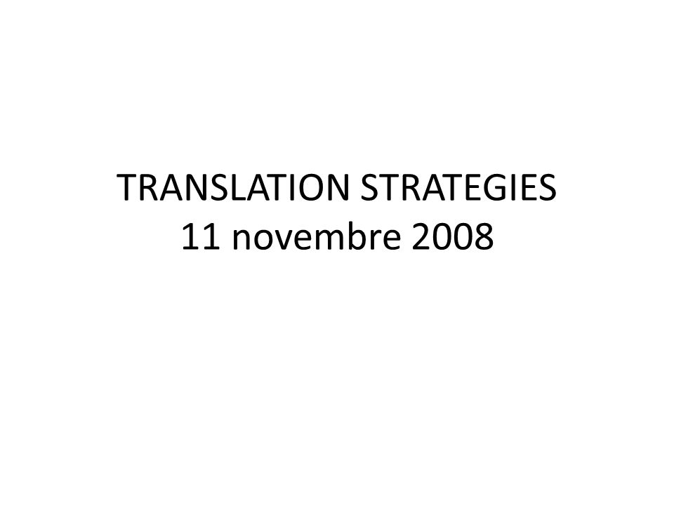 TRANSLATION STRATEGIES 11 novembre 2008