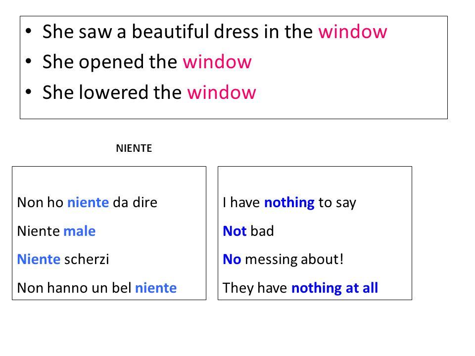 She saw a beautiful dress in the window She opened the window She lowered the window Non ho niente da dire Niente male Niente scherzi Non hanno un bel
