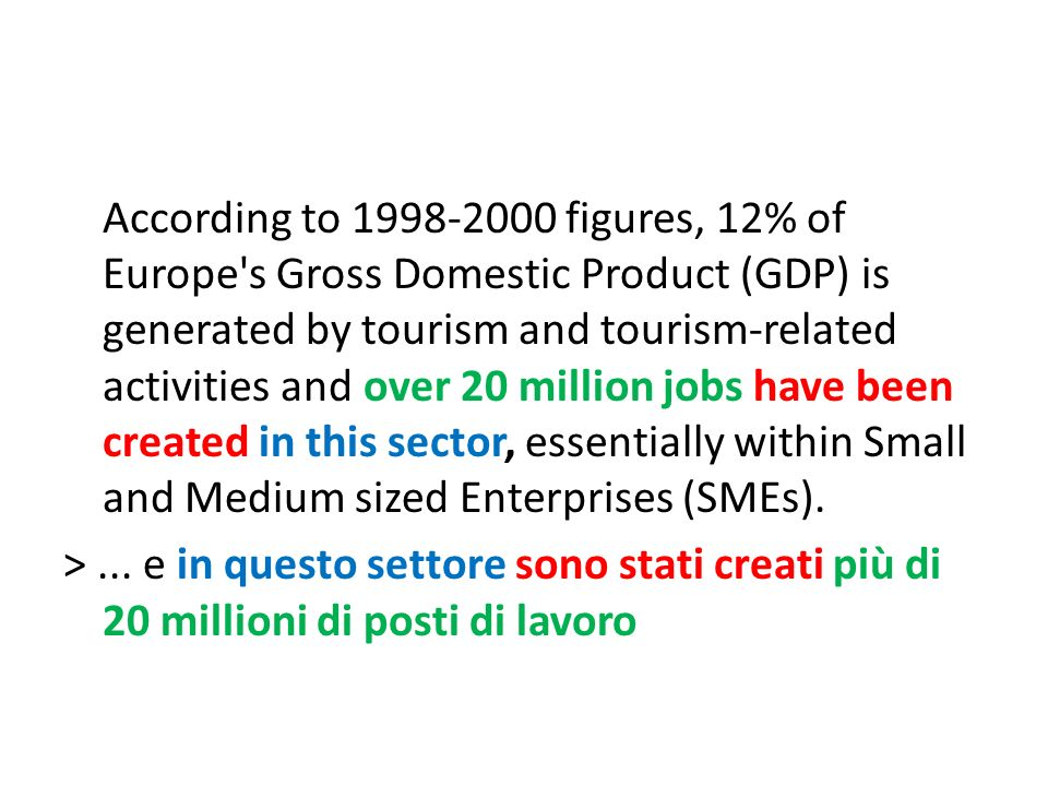 According to 1998-2000 figures, 12% of Europe's Gross Domestic Product (GDP) is generated by tourism and tourism-related activities and over 20 millio