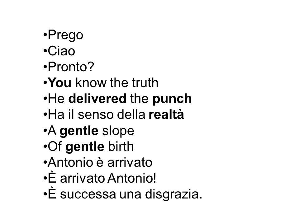 Prego Ciao Pronto? You know the truth He delivered the punch Ha il senso della realtà A gentle slope Of gentle birth Antonio è arrivato È arrivato Ant