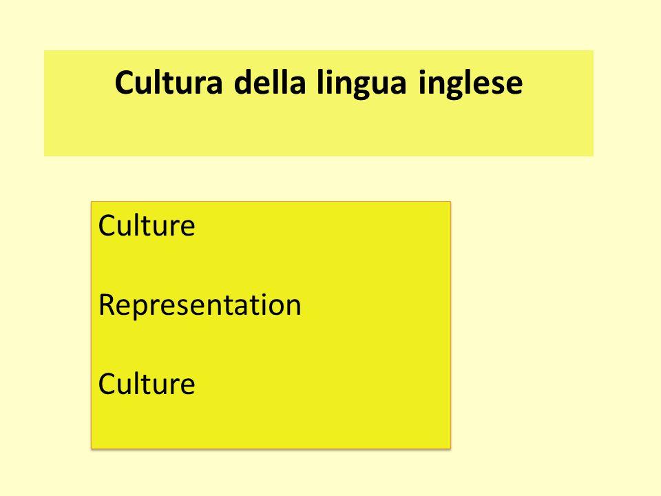 Cultura della lingua inglese Culture Representation Culture Representation Culture