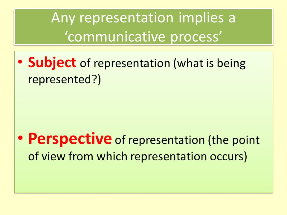 Any representation implies a communicative process Subject of representation (what is being represented?) Perspective of representation (the point of