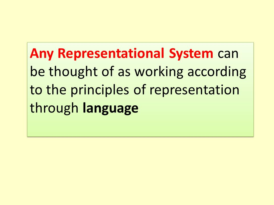 Any Representational System can be thought of as working according to the principles of representation through language