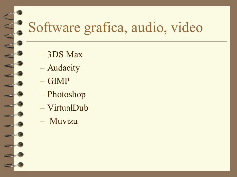 Software grafica, audio, video –3DS Max –Audacity –GIMP –Photoshop –VirtualDub – Muvizu
