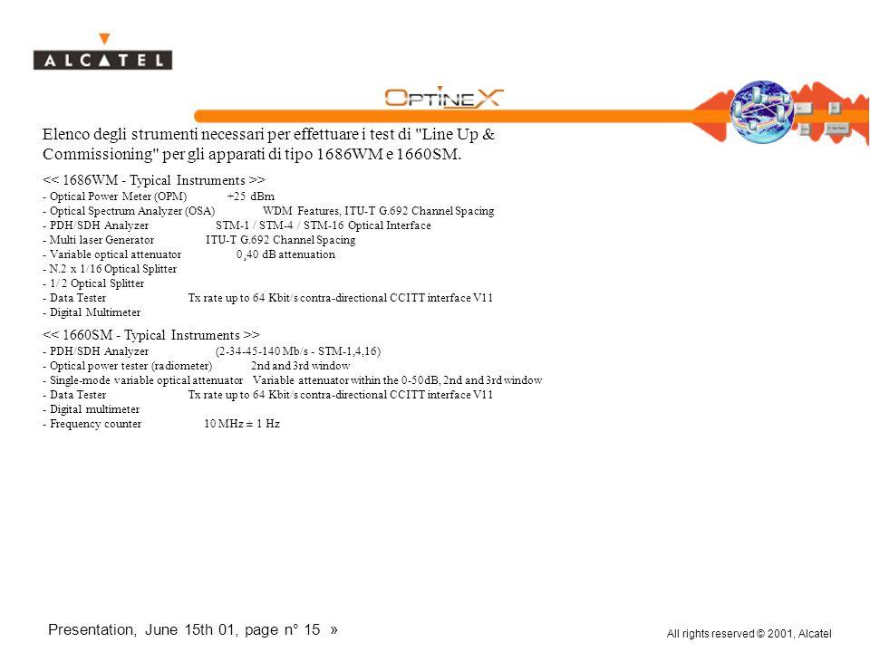 All rights reserved © 2001, Alcatel Presentation, June 15th 01, page n° 15 » Elenco degli strumenti necessari per effettuare i test di