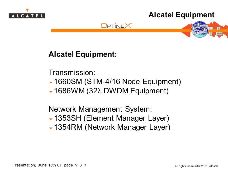 All rights reserved © 2001, Alcatel Presentation, June 15th 01, page n° 3 » Alcatel Equipment Alcatel Equipment: Transmission: 1660SM (STM-4/16 Node E