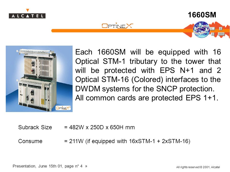 All rights reserved © 2001, Alcatel Presentation, June 15th 01, page n° 4 » 1660SM Each 1660SM will be equipped with 16 Optical STM-1 tributary to the
