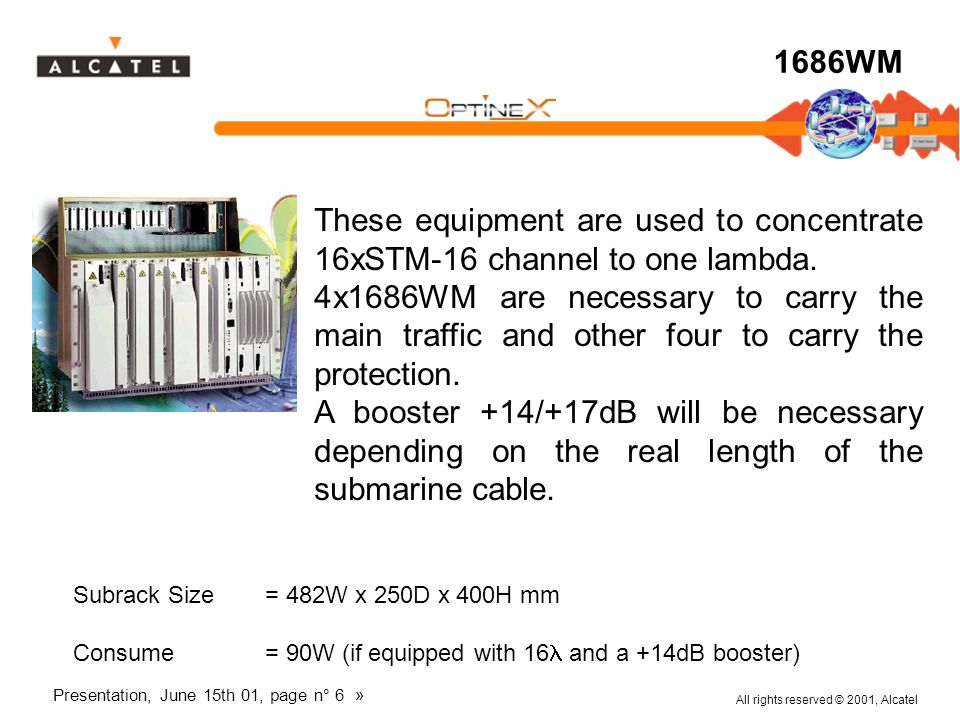 All rights reserved © 2001, Alcatel Presentation, June 15th 01, page n° 6 » 1686WM These equipment are used to concentrate 16xSTM-16 channel to one la