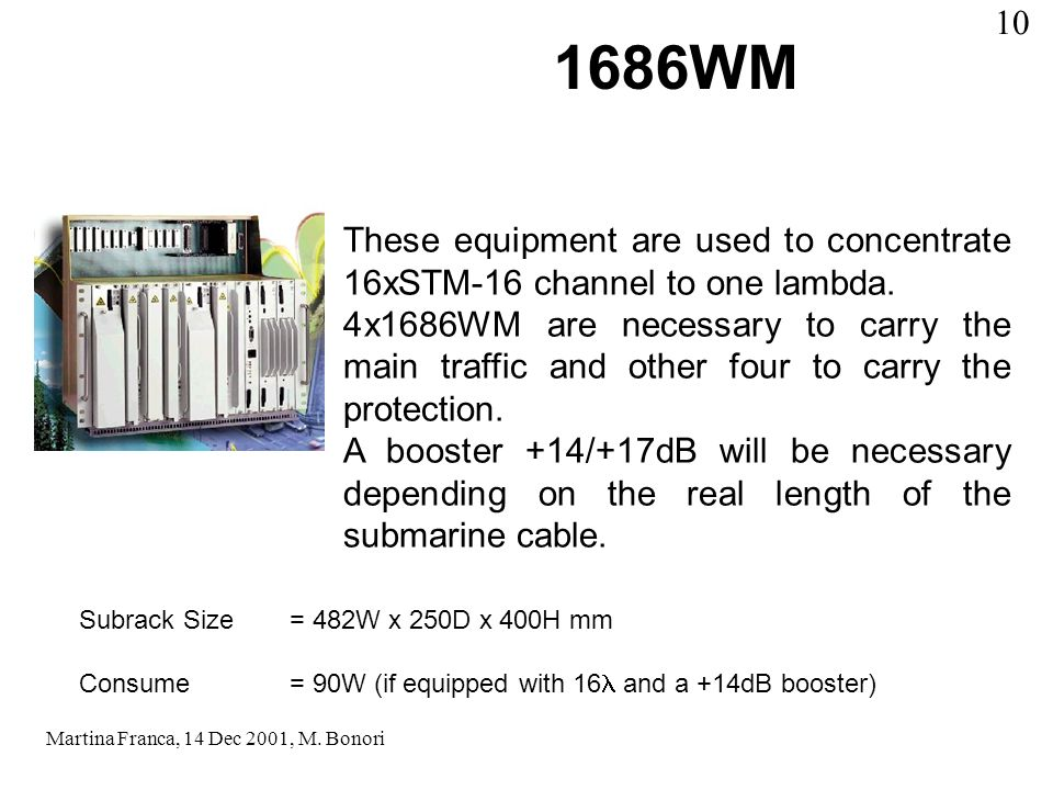 1686WM These equipment are used to concentrate 16xSTM-16 channel to one lambda.