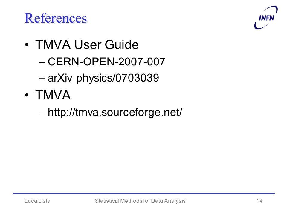 Luca ListaStatistical Methods for Data Analysis14 References TMVA User Guide –CERN-OPEN-2007-007 –arXiv physics/0703039 TMVA –http://tmva.sourceforge.